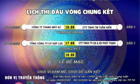 Vòng chung kết Giải bóng đá chào mừng ngày Doanh nhân Việt Nam 13/10 lần thứ nhất năm 2020